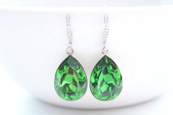 Emerald earrings Bridesmaid Gift in Silver • Green earrings • Bridal earrings • Wedding earrings • Swarovski crystal Earrings FERN GREEN