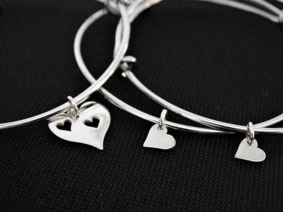 Mother daughter Gift for her heart charm bracelet for mother and daughter jewelry Set of 3 Bangles for Mother day Gift Mother of the Bride