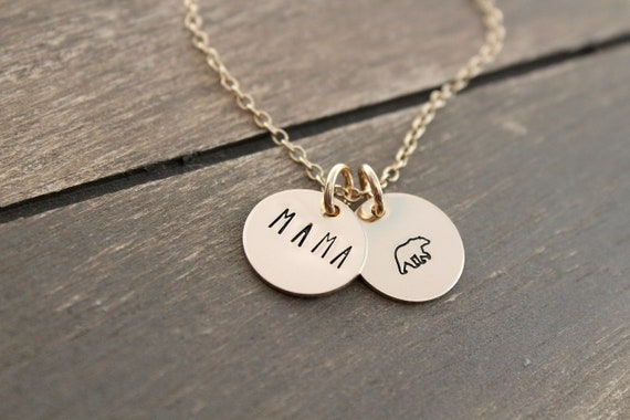Mama Bear Necklace gold, Gift For Mom, Mom Necklace, New Mom Gift, Family Jewelry, Mother Pendant