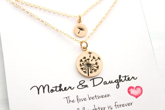 Mother Daughter Necklace Set Dandelion Necklace charm necklace Mother Daughter Necklace Set Mother Daughter Gift mother necklace BRONZE