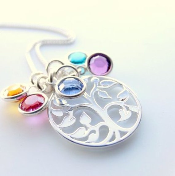 Tree of life Necklace Family necklace Sterling Silver Tree jewelry Personalized Family Tree Necklace birthstone necklace Mothers Necklace