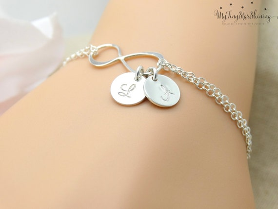 Personalized Infinity Bracelet Friendship Bracelet Sterling Silver Charm Bracelet Everyday Bracelet  Bridesmaids Gifts Mother of the Bride