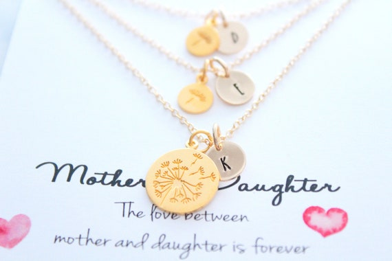 Dandelion Necklace gold, Mother Daughter Jewelry, Set of 3, Gifts for Mom, Mother Daughter Gift, Mothers Day Gift, Personalized necklace