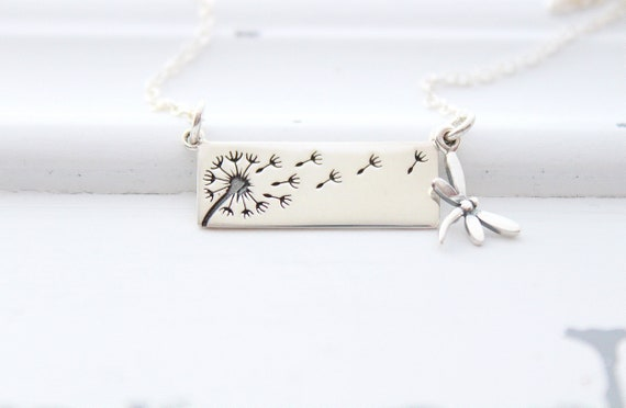 Dandelion Bar Necklace, Sterling Silver Dragonfly charm necklace, dandelion necklace, sterling silver dandelion, wish necklace