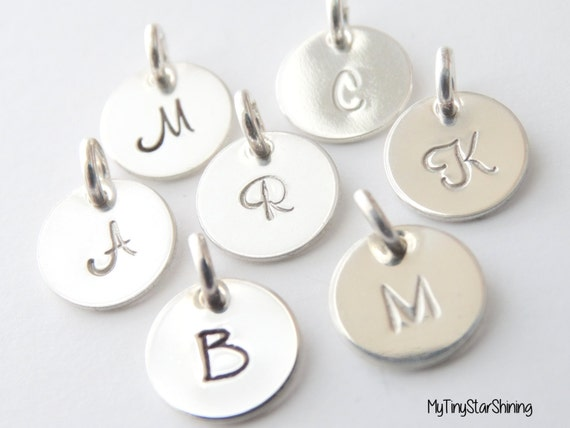 Initial Charm sterling silver, Initial Pendant, Personalized Initial Charm, Initial Jewelry. handstamped initial charm, Tiny Letter Charm