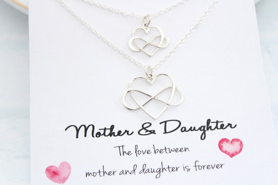 Infinity heart Necklace, Mothers Necklace, Mother daughter Necklace, Set of 2 Gift for mom
