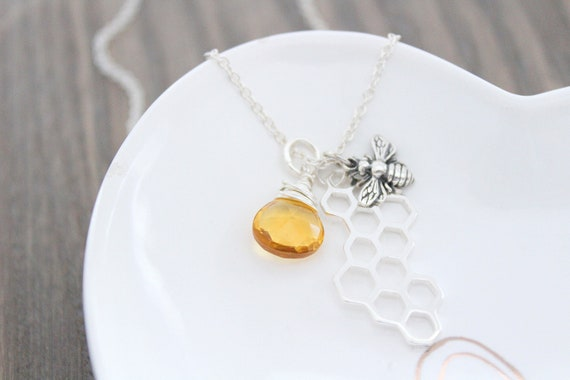 Bumble Bee Necklace Sterling silver, Honey Bee Necklace Silver, Bee charm Necklace, Personalized Initial Necklace, Bee Jewelry