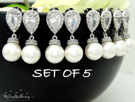 Set of 5 Pearl Earrings Bridesmaid Gift Wedding Jewelry Pearl Bridal Earrings Swarovski Crystal Pearl Earrings 10% discount