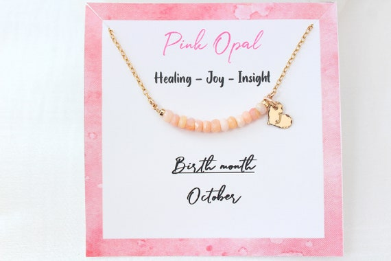 Personalized Pink Opal necklace, Custom initial necklace gold Gemstone necklace October birthstone necklace, for women, Pink opal Jewelry