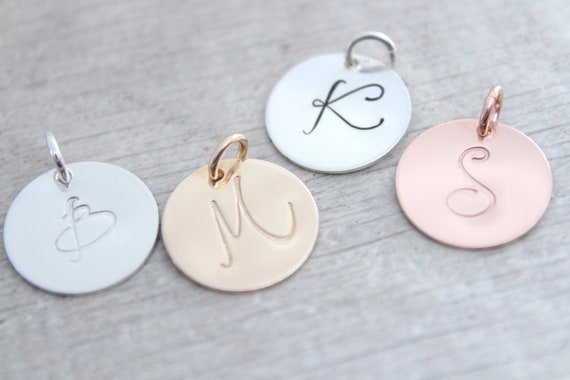 Initial Charm Initial Pendant Silver pendant Personalized letter charm Rose Gold Initial Necklace Rose Gold Letter Charm