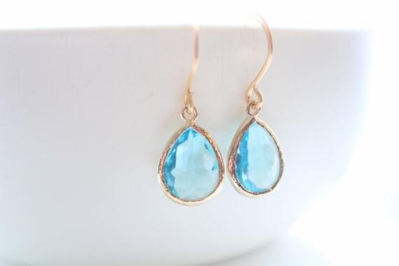 Aquamarine Earrings gold wedding earrings Blue Earrings Dangle Earrings Wedding Gift March Birthstone Bridesmaid Gifts Bride earrings