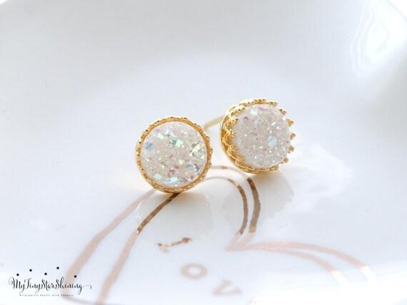 Druzy Earrings Studs GOLD Stud Earrings White druzy earrings bridal earrings druzy studs Druzy Jewelry