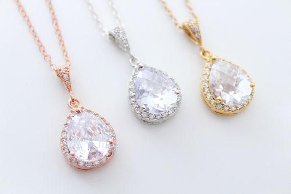 Bridal Necklace Wedding Jewelry Wedding Necklace Rose Gold Necklace Silver Necklace Cubic zirconia Necklace Teardrop Pendant Crystal necklac