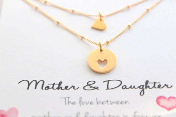 Mother daughter Necklace, mother daughter jewelry, Heart necklace, Mothers day gift from daughter, Mother of the Bride gift, Gold necklace