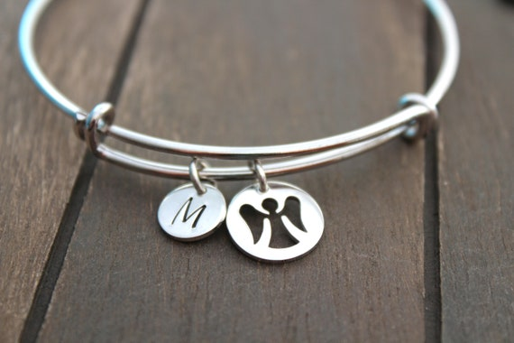 Guardian Angel bracelet Charm, Bracelet Angel charm, Angel Jewelry, Silver Bangle bracelet with charms, Initial charms letter