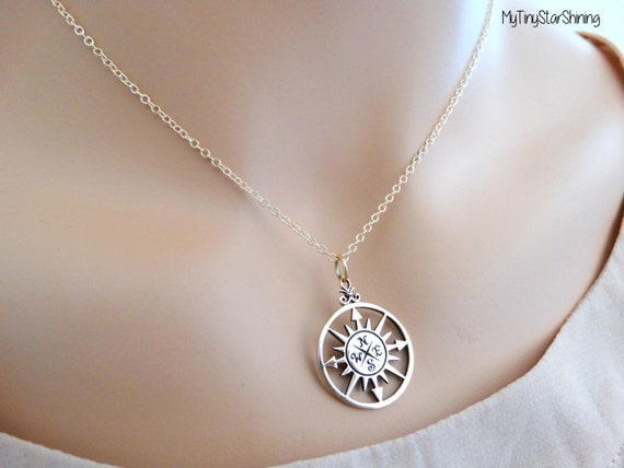 Compass Rose Necklace Gold Compass Necklace Compass Rose Jewelry Compass Pendant Best Friend necklace Personalized graduation Gift