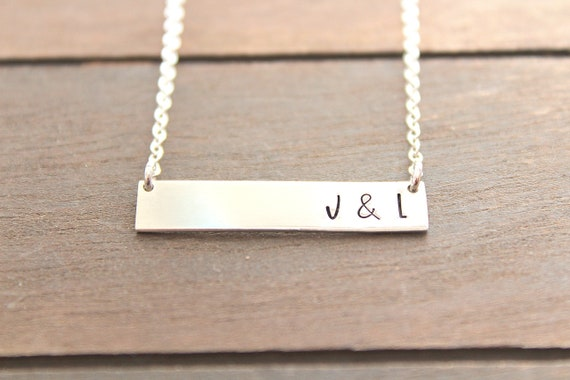 Bar Necklace in gold or silver • Customized Name Bar Necklace • Personalized Gold Bar Necklace