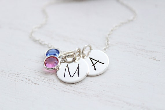 Birthstone Initial Necklace, Sterling Silver Necklace, Personalized Birthstone Necklace, Initial with Birthstone Jewelry