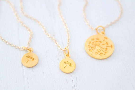 Dandelion Necklace gold Mother Daughter gold, Jewelry Set of 3, Gifts for Mom, Mother Daughter Gift, Mom Gift, Mother's Day Gift