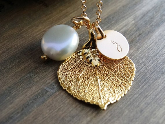 Gold leaf necklace Aspen leaf necklace pearl necklace Initial necklace Bridesmaid gifts Wedding jewelry Bridal party gifts Rustic jewelry
