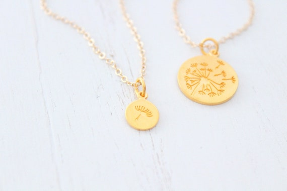 Mother Daughter Necklace Set Dandelion Necklace Gold filled chain Necklace