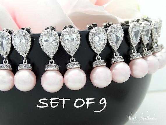 Set of 9 Pearl Earrings Bridesmaid Gift Wedding Jewelry Pearl Bridal Earrings Swarovski Crystal Pearl Earrings 15% discount Pink Pearl