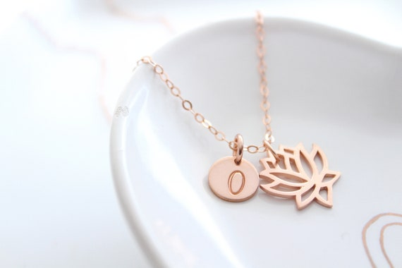 Lotus Necklace Rose Gold, Lotus Flower Charm Necklace, Lotus Pendant, Yoga Necklace, Yoga Jewelry