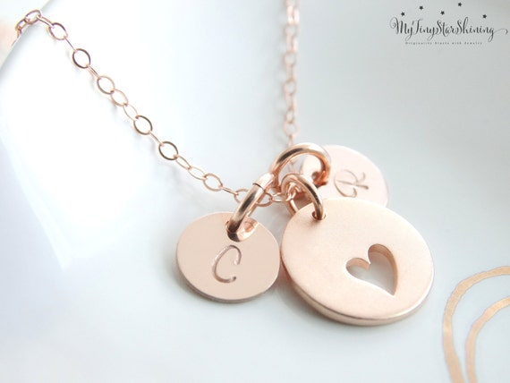 Heart Necklace rose gold, Mother's day gift, Initial necklace, Gift for Mom, Personalized jewelry