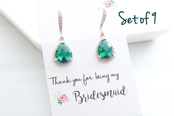 Set of 9 Bridesmaid Earrings Wedding Jewelry Bridal Earrings Amethyst Earrings Emerald Earrings Wedding Jewelry Choose your color