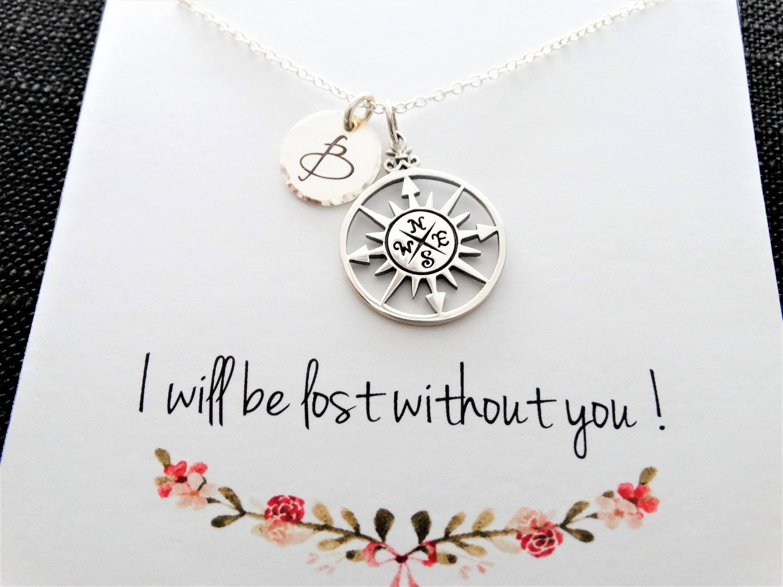 1 & Compass Necklace Graduation Gift Best Friends Gift Compass ...