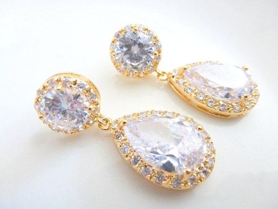 Gold Bridal Earrings, Bridal Jewelry, Clear Cubic Zirconia Posts earrings, Teardrop Earrings ,Wedding Earrings, Wedding Jewelry