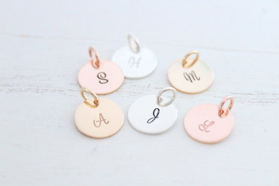 Initial pendant, Initial letter charm, Personalized letter charm, Sterling Silver initial charm, Rose Gold initial charm, SCRIPT MH