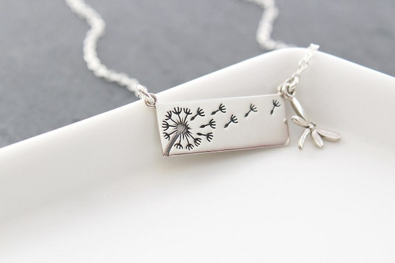 Dandelion Necklace silver, Dragonfly charm necklace, Mother necklace from daughter, silver bar necklace, wish necklace