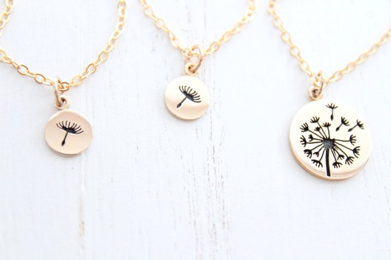 Dandelion necklace mother daughter Mothers Day Gift. Mommy and me Necklace, gift for daughter in gold