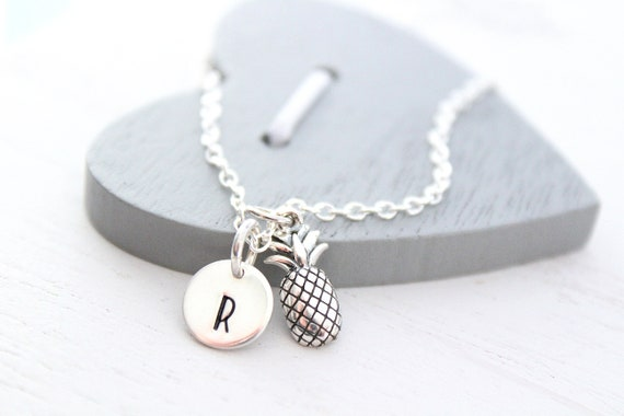 Pineapple Necklace Sterling silver with Initial Jewelry, initial Necklace, silver Pineapple Necklace, Tropical necklace