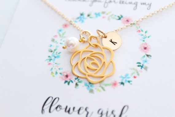 Flower girl necklace gold, Toddler, Personalized jewelry, flower girl gift,  flower girl jewelry, Little girl necklace, Initial charm