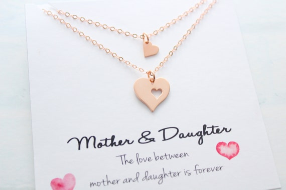 Mother Daughter Necklace Rose Gold Heart Necklace sets Mother of the bride gift from daughter Wedding day Mother day gift from daughter