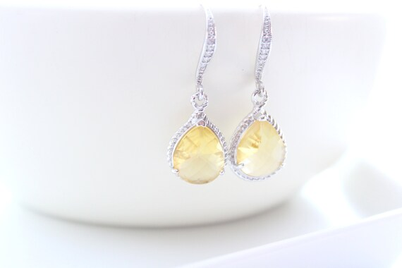 Citrine Yellow Earrings Teardrop Earrings Wedding Earrings Bridal earrings Bridesmaid Earrings Cubic Zirconia Bridal Jewelry