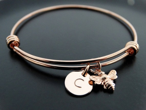 Bumble bee bracelet Rose gold bracelet Honey bee charm bracelet Personalized Jewelry Initial bracelet