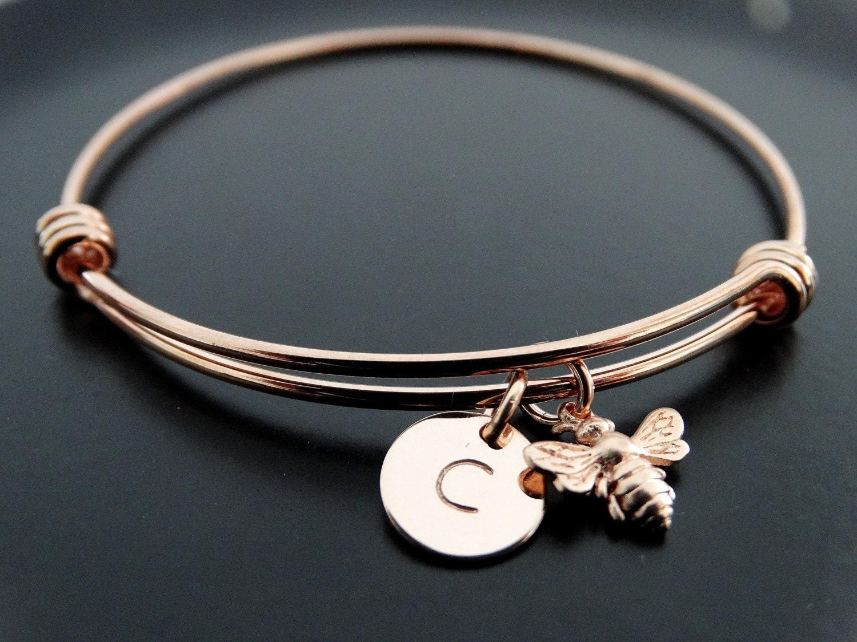 Bumble bee bracelet Rose gold bracelet Honey bee charm bracelet Personalized Jewelry Initial ...