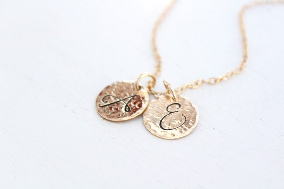 Large initial necklace gold, Hammered large initial charm necklace initial jewelry, Cursive initial charm, Letter charm necklace monogram