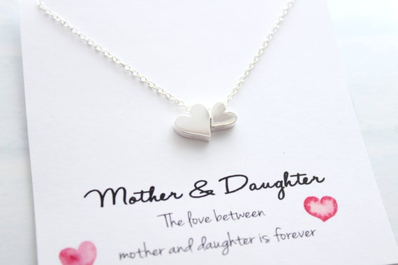 Mother Daughter Necklace Set Mom Gifts from Daughter Mom Jewelry Mom Birthday Gift Mothers Day Gift Mom Christmas Gift Heart Necklace