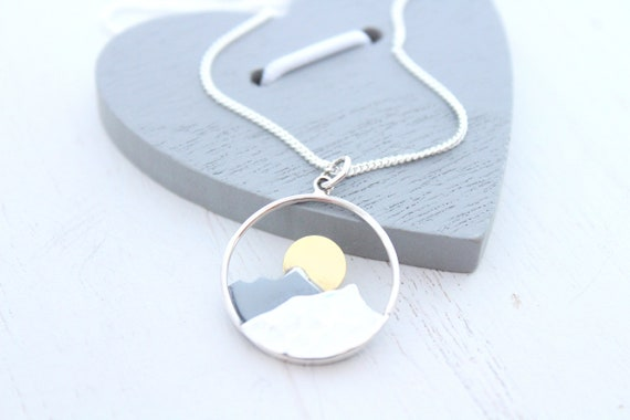 Mountain Necklace in Sterling Silver Necklace for Woman, Wanderlust Jewelry, Mountain Range with Sun or Moon, Mothers Day Gift