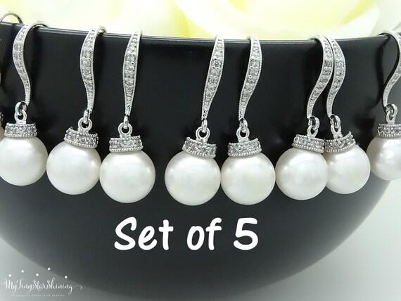 Set of 5 Pearl Earrings Bridesmaid Gift Wedding Jewelry Pearl Bridal Earrings Swarovski Crystal Pearl Earrings Wedding Gift 10% discount