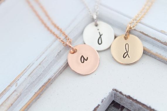Initial necklace, Rose gold Initial charm, Sterling silver Letter charm necklace, Monogram necklace, Personalized jewelry, Gift for mom