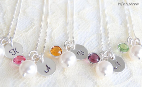 Set of 9 Necklaces Bridesmaid Necklace Bridesmaid Gifts Bridesmaid Jewelry Pearl Necklace Initial Necklace Birthstone Necklace