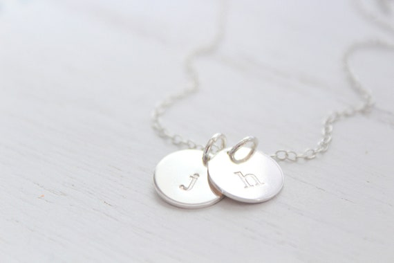 Lowercase initial necklace silver, Monogram Necklace Sterling silver, dainty initial necklace, disc necklace, personalised jewelry