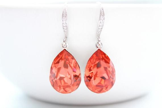 Bridal Earrings Swarovski Crystal Earrings Wedding Jewelry Bridesmaid Gift Mother of the Bride Gift Orange Earrings  Padparadscha Earrings