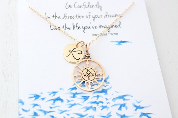 Friendship jewelry • compass necklace gold • Best Friend gifts • graduation gift ideas • college graduate • friendship necklace • compass