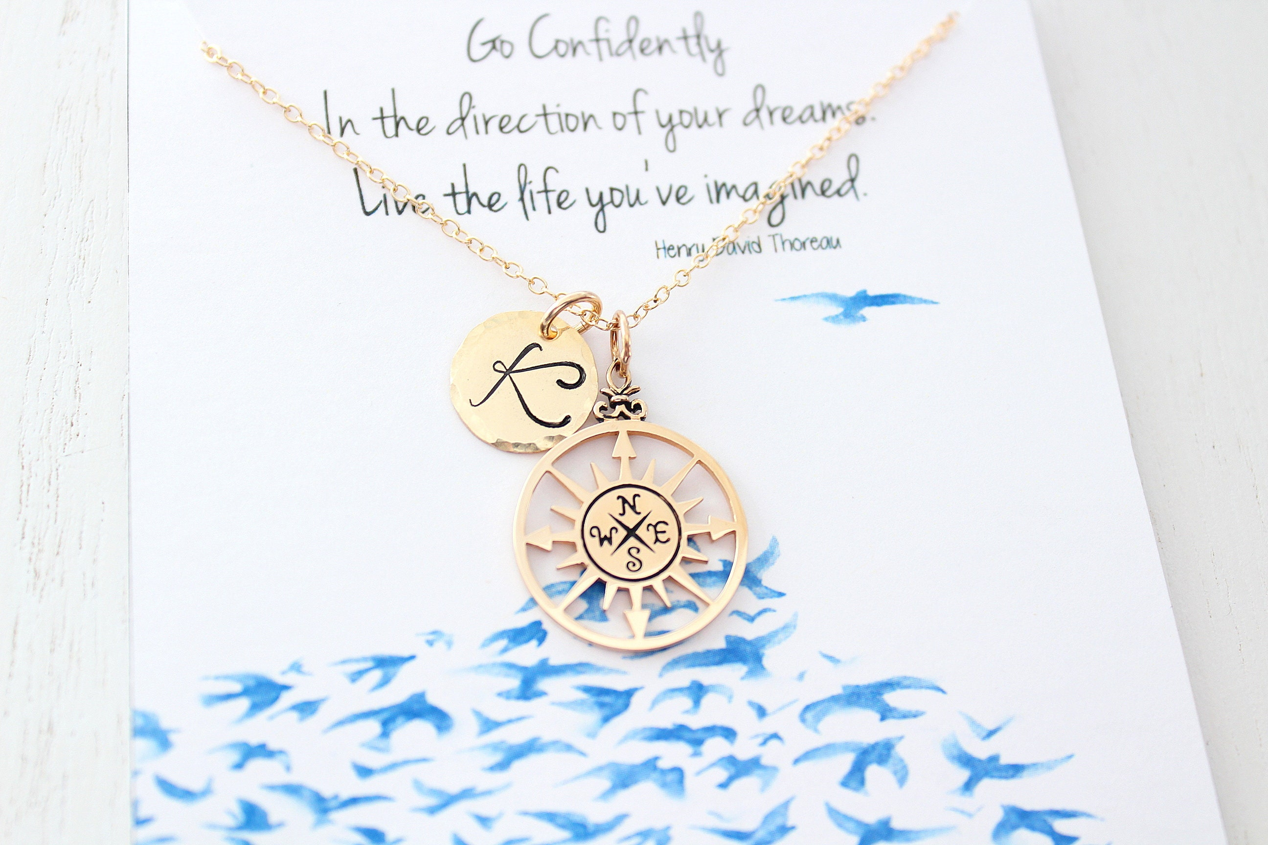 Friendship Jewelry Compass Necklace Gold Best Friend Gifts Graduation Gift Ideas College Graduate Friendship Necklace Compass
